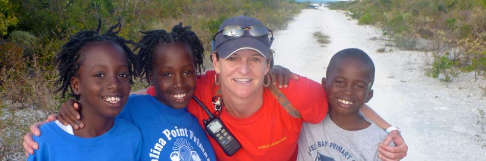Meeting local kids on Egg Island, Bahamas