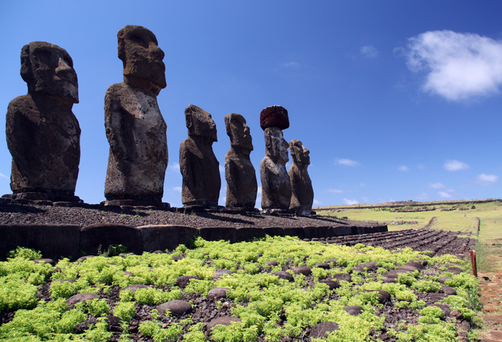 Here you can clearly see the platform around the moai.  This foundation is made up of many, many generations of crushed moai statues that were knocked down after three generations.  If you think about it, three generations is about all we as people remember back.  It would be hard for me to tell you anything about my great, great grandparents.
