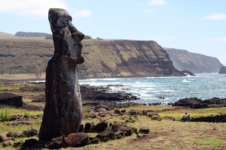 Moai were a tie to your family that reached back three generations.  After the last person passed of the third generation died, then the moai was toppled and broken into pieces that were used to make the foundation (platform) of a new statue.  Recycling of the lineage.