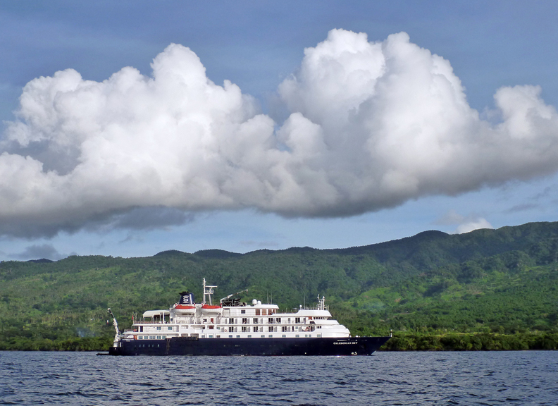 The MS Caledonian Sky at anchor in Fiji.