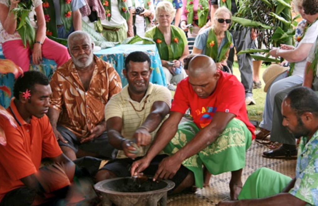 A traditional kava ceremony in Naidi Village