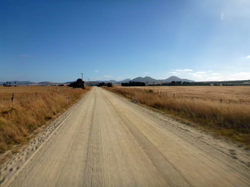The road into the town of Whitemark on Flinders Island.