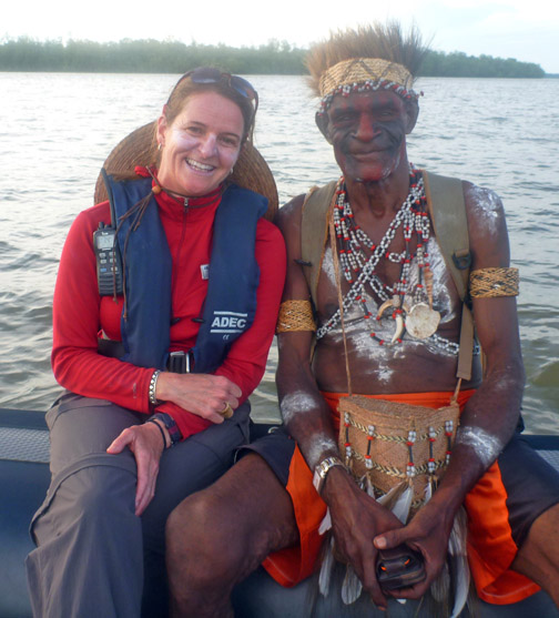 Me and the Chief of a remote Asmat Village in West Papua, Indonesai.  If you look closely, he's holding a cell phone.  Connected and ready to take photos.