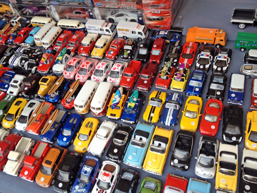 Model cars for sale in the Hobart Saturday Market.