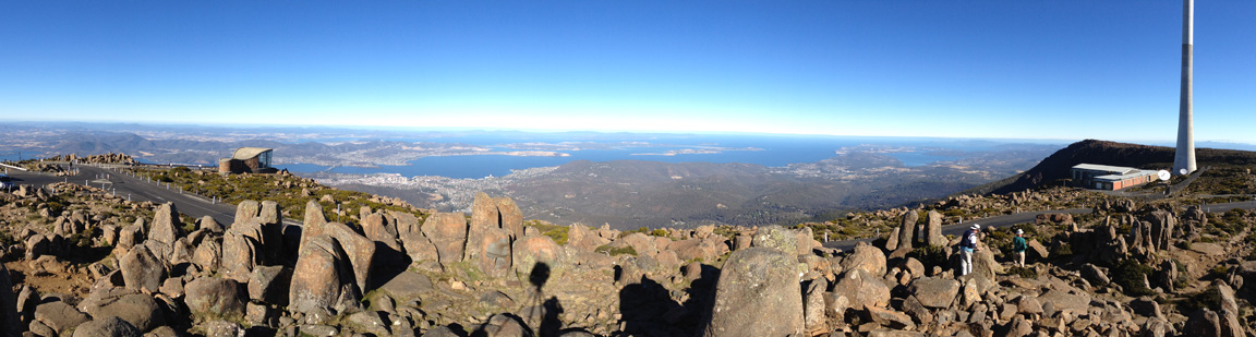 A panoramic view from the top of Mount Wellington looking down at the city of Hobart.