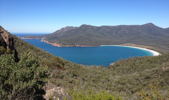 The stunning view of Wineglass Bay on the Freycinet Peninsula, Tasmania.