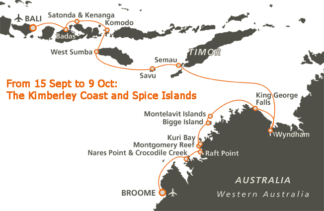 Kimberley and Spice Islands Route Map