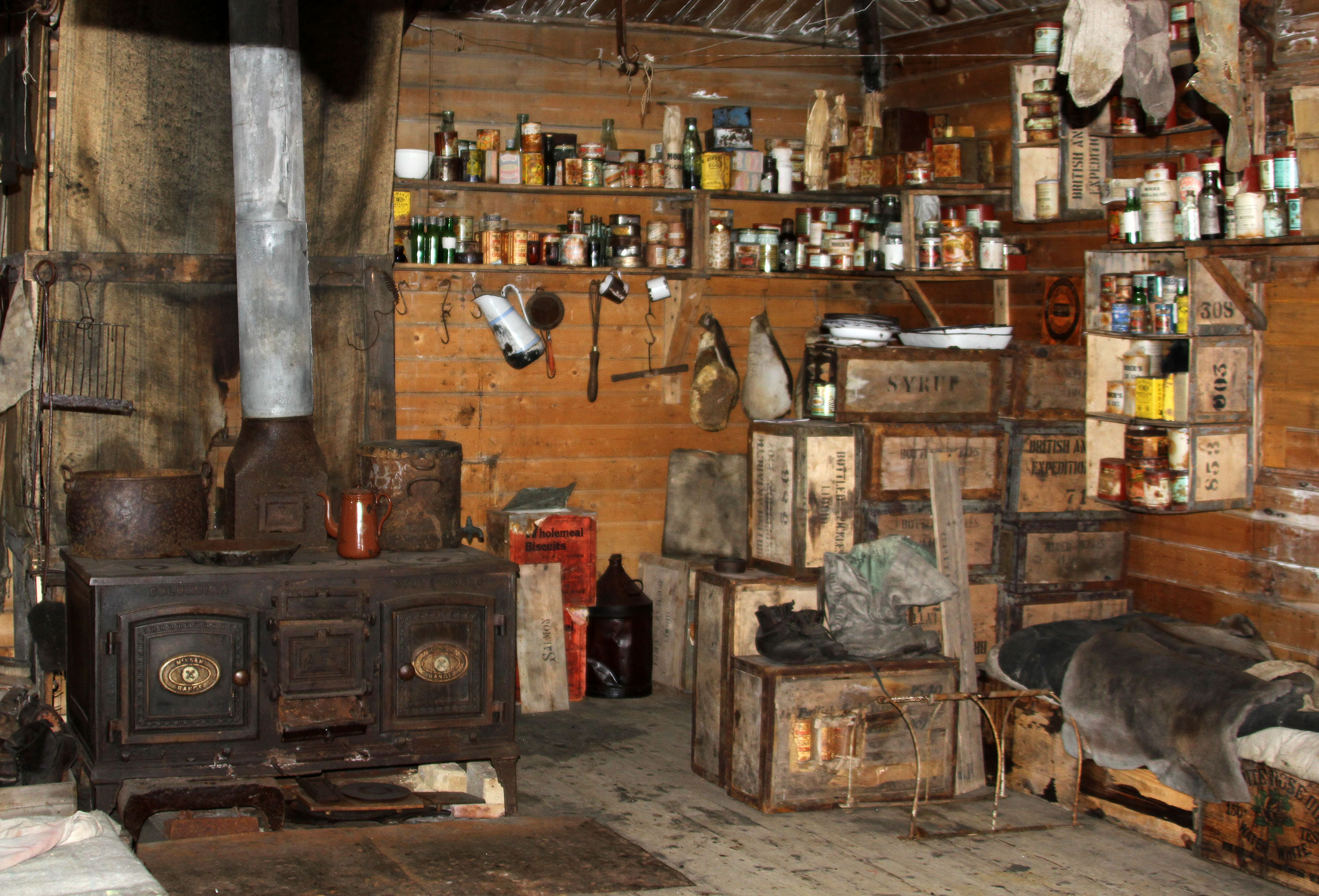 The inside of Shackleton's Hut at Cape Royd's.  The contents have been preserved and restored with great care.