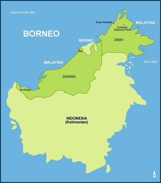 All the way on the north-western tip of the island of Borneo you can find the city of Kota Kinabalu.
