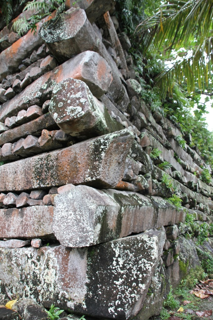 Stone walls made of hexagonal basalt columns at Nan Madol on Pohnpei.