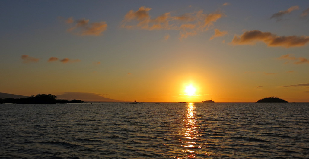 Sunset over the islands.