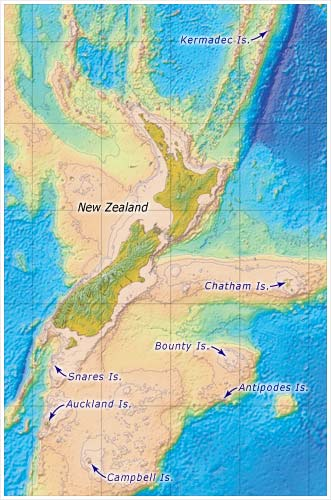 NZ MAP with subantarctic_islands + bathymetry